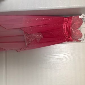 pink with sequence high low dress